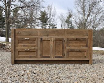 "Rustic Vanity (72"") - Reclaimed Barn Wood w/Paneled Doors & Drawers (Unfinished)  #9589"
