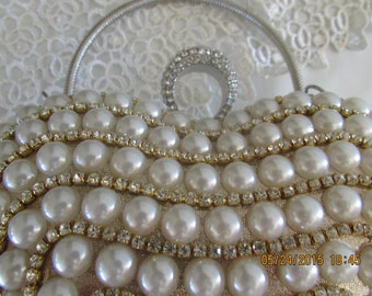 STONING! Hart Hand made pearl and swarovski Clutch,Exquisite Ivory Bridal Pearl crystal Purse,Holiday gift, Hand made