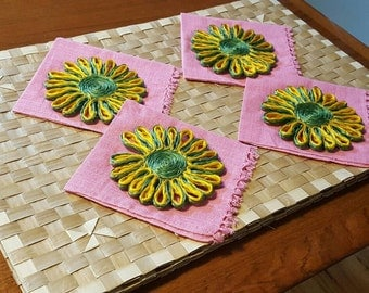 Vintage Woven Placemats Napkins Coasters Set of 4 Hawaiiana