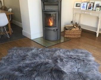Silver grey icelandic sheepskin , large quad rug , throw.