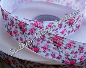 3 yards of 7 / 8 inch pink rose grosgrain ribbon