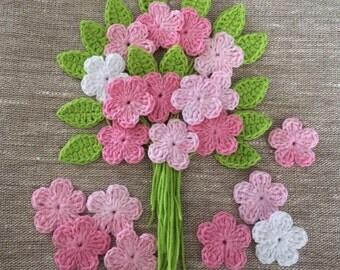 Crochet flowers and Leaves - Pink batik - Soft Cotton - Size 3cm