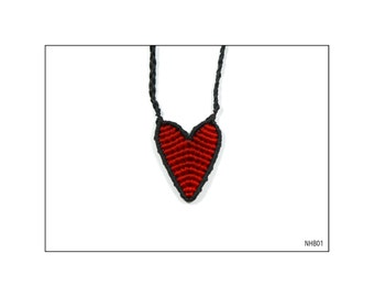 Macrame Heart necklace - Black and Red / NHB01