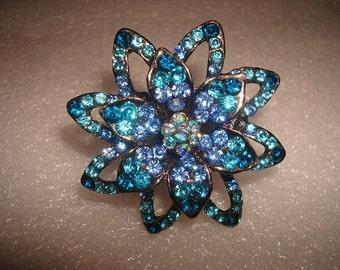 Unique Large Blue Sapphire Black Rhodium Silver Flower Ring / Stretch Band