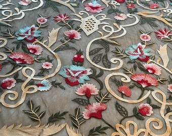 black forest of colorful flower embroidery lace fabric ,black Dress lace sell by yard