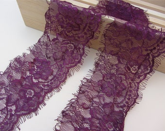 wine Lace Trim, 3yards French Lace, Chantilly Lace, Bridal gown lace, Wedding Lace, Garter lace, Evening dress lace, wine red Lace