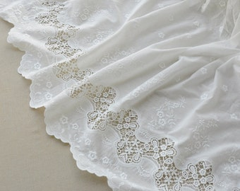 skirt cotton lace fabric ,ivory White  cotton embroidery curtain fabric ,
