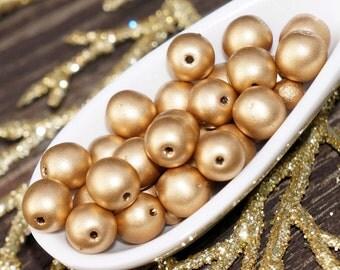 Matte Gold Czech Glass Beads Round Czech Glass Round Beads Gold Czech Beads Gold Round Beads ...