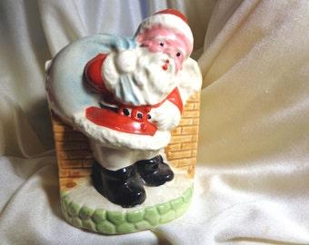 Vintage Ceramic Planter, Santa at the Chimney With Bag of Gifts