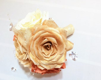 Wedding bouquets in burnt orange, ivory and gold handmade paper Roses,  Wedding party bouquets, Flower girl bouquet, Toss bouquet