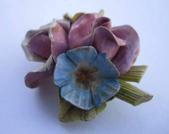 1950s homemade porcelain flower bouquet brooch
