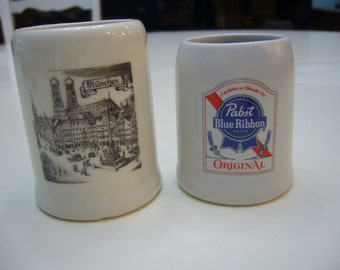 Two (2) Miniatures German and Blue Ribbon Beer Mugs.