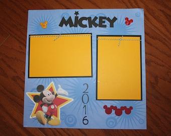 12 x 12 Mickey premade scrapbook layout 2016 ,  Mickey 12 x 12 complete layout, Mickey 2016, Disneyland, Disneyworld, handmade wall art