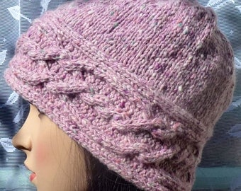 Soft & Warm Cabled Soft Donegal Tweed Cloche Hat - Pink