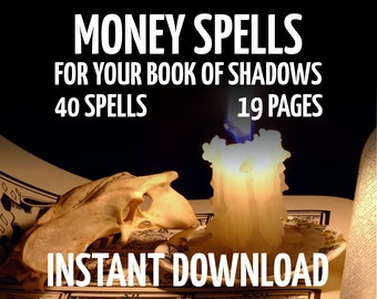 19 Pages, 40 Money Spells, Witchcraft, Wicca, Book of Shadows Pages, BOS Pages, Real Book of Spells, Witchcraft Book, Spell Book Pages