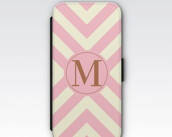 Wallet Case for iPhone 8 Plus, iPhone 8, iPhone 7 Plus, iPhone 7, iPhone 6, iPhone 6s, iPhone 5/5s - Pink & Cream Stripe Monogram