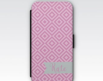 Wallet Case for iPhone 8 Plus, iPhone 8, iPhone 7 Plus, iPhone 7, iPhone 6, iPhone 6s, iPhone 5/5s - Pink & Grey Geometric Monogram Case