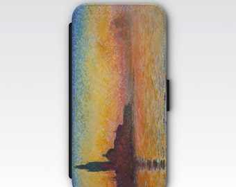 Wallet Case for iPhone 8 Plus, iPhone 8, iPhone 7 Plus, iPhone 7, iPhone 6, iPhone 6s, iPhone 5/5s -  Sunset in Venice Twilight by Monet