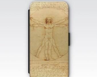Wallet Case for iPhone 8 Plus, iPhone 8, iPhone 7 Plus, iPhone 7, iPhone 6, iPhone 6s, iPhone 5/5s -  Vitruvian Man Da Vinci Phone Case
