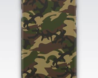 Case for iPhone 8, iPhone 6s,  iPhone 6 Plus,  iPhone 5s,  iPhone SE,  iPhone 5c,  iPhone 7  - Camouflage Khaki Green Patterned