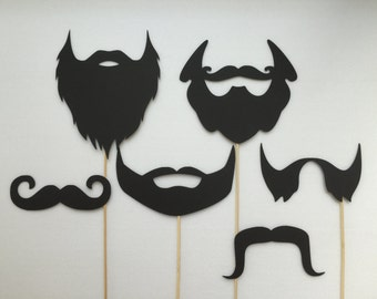 Beards and Mustaches  Photobooth Props Holiday Photo Booth Props Set of 6