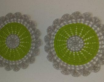 Crochet nylon doilys