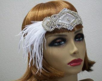 Rhinestone 1920s Gatsby Headband, Crystal Wedding Headpiece, Bridal Headpiece, 1920 Flapper Headband, 1920s Bridal Accessories