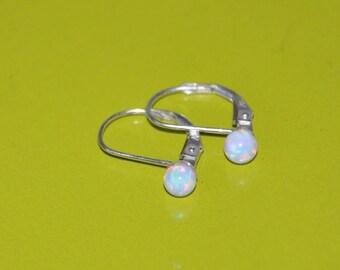 Opal Ball Earrings, 4mm Opal, White Opal, Lever Back Earrings, Sterling Silver, Opal Jewelry