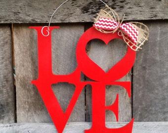 Painted LOVE Door Hanger - Valentine Door Hanger - Valentine's Day Gift