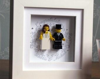 0015LW Mini Bride & Groom LEGO® Wedding customisable Wall Art Frame