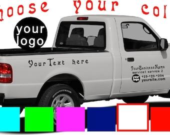 Car Truck Van Door Decals Vinyl Letters Sticker Custom - Custom vinyl lettering