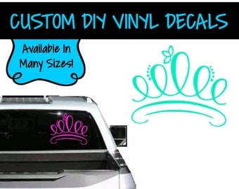VD0094 - Princess Crown Decal - Vinyl Decal - Vehicle Decal - Personalized Vinyl - Personalized Decal - Window Decal - Crown Decal