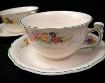 1930's Royal Winton Grimwades Art Deco Cup & Saucer Sets x 2