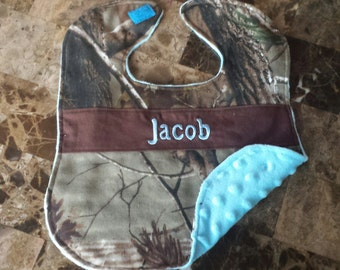 Personalized Baby Camo Infant Bib Backed With Soft Minky