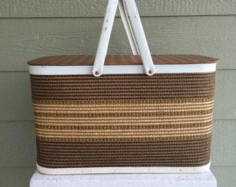 Picnic Basket, W. C. Redmon, Vintage, Retro, Orange, Tote