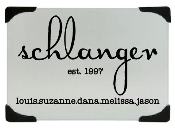 Personalized family name kitchen glass cutting board, Last name chopping board, Cheese board,  tempered glass chopping board