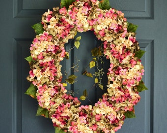 Beautiful Blended Oval Hydrangea Wreath | Front Door Wreaths | Summer Wreath | Fall Wreath | Wreath | Housewarming Gift