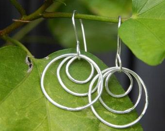 Triple Silver Hoops