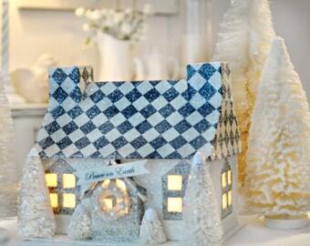 Glitter Harlequin Christmas Cottage