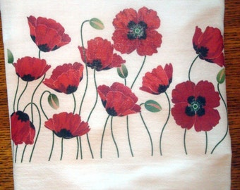 Flour Sack Kitchen Towel Poppy