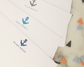 Anchor Baby Kids Stationary - Boys Nautical Personalized Stationery Set of 20 Flat Note Cards