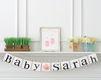 Boho Baby Shower Decoration, Personalized Name Banner, Baby Shower Banner, Nursery Decoration , Baby Girl Banner, Baby Girl Name Banner