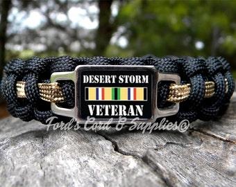 Desert Storm Veteran Bracelet, Paracord Bracelet, Survival Bracelet, Military Veteran, War Veteran, Unisex Adult Bracelet, Gift