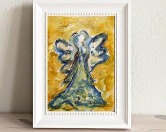 Angel Painting, Original Acrylic Painting, Guardian Angel, Small Paintings, Angel Art