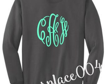 monogrammed sweater, monogrammed sweat shirt, monogrammed shirt, personalized sweater, charcoal sweater