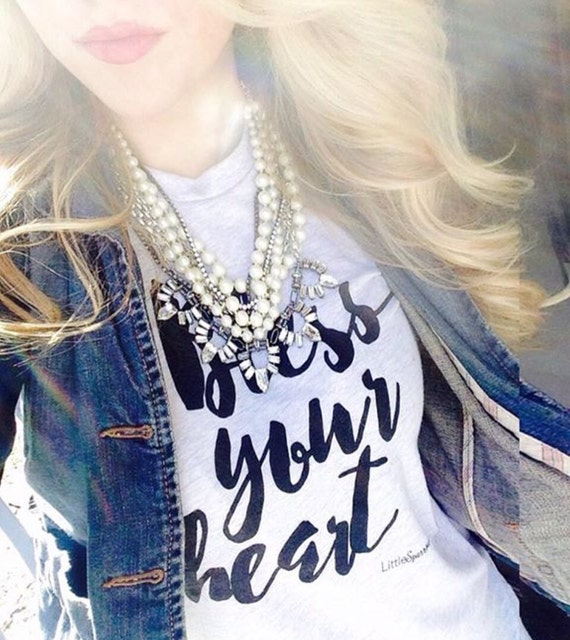 NEW Bless your Heart screen printed t shirts with blk ink Ready To Ship