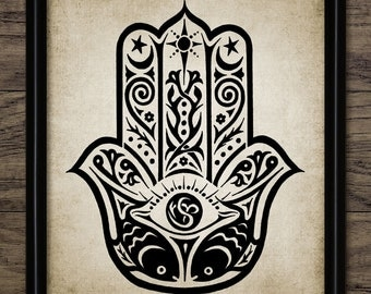 Hamsa Hand Print - Hand Of Protection - Hand Of Fatima - Hamsa Print - Hamsa Art - Printable Art - Single Print #316 - INSTANT DOWNLOAD