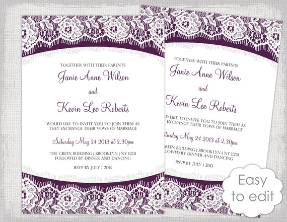 Lace Wedding Invitation Template: Instant Download Lace Wedding Invitation Template Plum