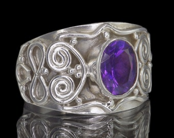 Amethyst & 925 Sterling Silver Ring with Wire-Work - Size US 7 1/2 (UK, Aus: O 1/2) #B103