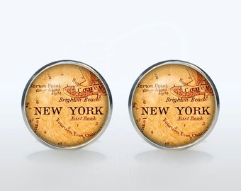New York map Cufflinks Silver plated New York vintage map Cuff links men and women Accessories Antique black brown red green